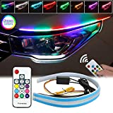 LEDCARE Car Headlight Surface Strip Tube Light, RGB Multi Color 24 Inch Flexible Waterproof LED Daytime Running Light Strip Neon Turn Signal Lights Switchback Light (No Disassembling Needed) 2-Pack (Color: Colors-RF Remote)