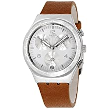 Swatch Reloj Cronógrafo para Hombre de Cuarzo con Correa en Cuero YCS597