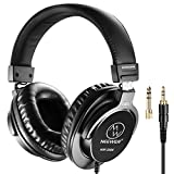 Neewer Studio Monitor Headphones - Dynamic Rotatable Headsets with 45mm Loudhailer Driver, 3 meters Cable, 6.35mm Plug Adapter for PC, Cell Phones, TV (NW-3000)