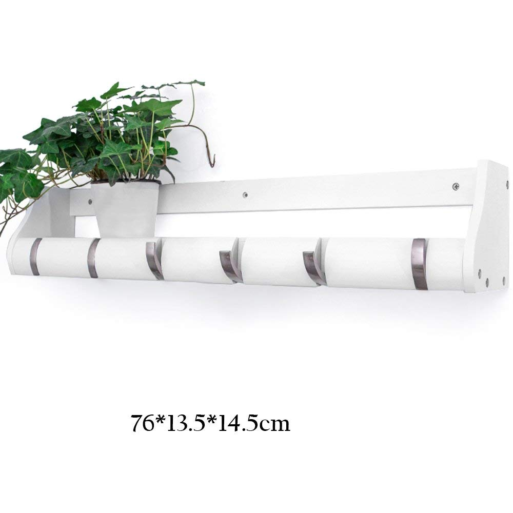 7613.514.5cm(6 hooks) White DYR Solid Wood Coat Rack Combination of Wall Shelves Decorative Frame Portico Coat Rack Stable and Durable Storage Rack (color  White, Dimensions  51  13.5  14.5 cm (4 Hooks))