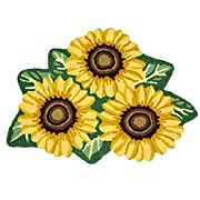 Ustide 3 Sunflower Rugs for Kitchen Handmade Rug Yellow Flower Floor Mat Modern Carpet Washable Non-Slip Bathroom Mat for Bedroom/Foyer 3x2