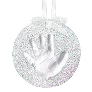 Pearhead Babyprints Handprint or Footprint Holiday Glitter Ornament Kit, Create Your Own Christmas Keepsake Ornament