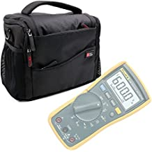 Water-Resistant Carry Bag in Black & Orange for Fluke 115 Compact True-RMS Digital Multimeter,Fluke 116 HVAC Multimeter and Fluke 117 Electricians True RMS Multimeter-by DURAGADGET