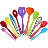 Kitchen Utensil Set - 11 Cooking Utensils - Colorful Silicone Kitchen Utensils - Nonstick Cookware with Spatula...