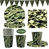 41 Pack Camouflage Disposable Tableware, DreamJ Camouflage Party Supplies with Camo Plates Cups Napkins and Triangle Banner for Army Military Hunting Themed Party Camouflage Birthday Party Decorations