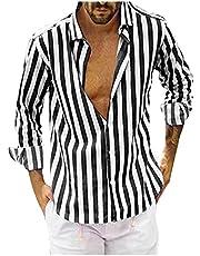 Xiloccer Mens Long Sleeve Button Up Shirts Men's Dress Shirt Collared Shirt Best Mens Tshirts V Neck Nice Shirts for Men