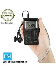 Radio Pequeña Portatil, Radio de Bolsillo DSP Digital LCD Pantalla Recargable FM Am 2 Bandas Tuning Receptor Radio Pocket Mini con Auriculares para Caminar- Negro