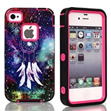 iPhone 5C Case,Lantier Dream Catcher Pattern 3 in 1 Design [Shockproof] [Heavy Duty Bumper] [Rugged Rubber Combo] Protective Case Cover For Apple iPhone 5C Hot Pink