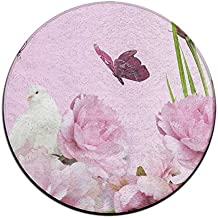 Baerg Round Door Mat Peony And Dove Non-slip Doormat Stain Fade Resistant Soft Living Dining Room Rug 23.62Inch