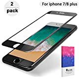 DFSP Compatible IPhone 7 Plus 8 Plus Screen Protector 3D Full Cover Edge to Edge Protection Hard Curved Edge Tempered Glass Film Anti-fingerprint Anti-Scratch for Iphone 5.5 inch (2 Pack) Black