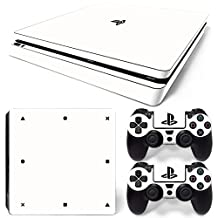 Ps4 Slim Playstation 4 Console Skin Decal Sticker White Classic + 2 Controller Skins Set (Slim Only)