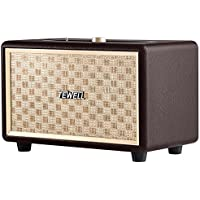 Tewell Vintage 24W AC Powered Bluetooth Speakers with Deep Bass, Stereo Sound (Brown)