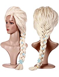 Hair Cap+Blonde Cosplay Wig Party Braid Hair Wigs for Costume Halloween with 6 Hairpins for Princess Wig