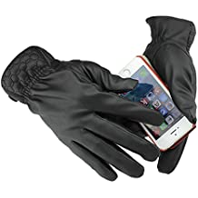 ieasysexy Warmer Men's Touch Screen Leather Winter Driving Gloves Mittens for iPhone Android Tablet Black (#2)