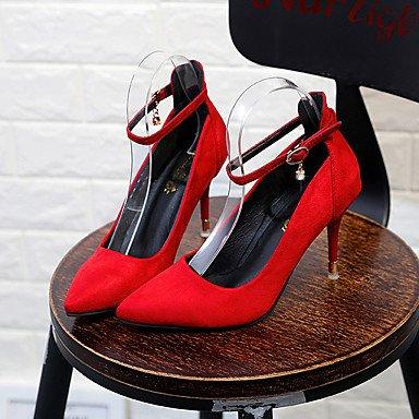 AIURBAG AIURBAG AIURBAG Damen High Heels Walking Komfort PU Frühling Sommer Normal Kleid Stöckelabsatz Schwarz Rot 7 5-9 5 cm beb2be