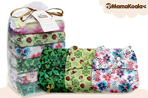 Mama Koala One Size Baby Washable Reusable Pocket Cloth Diapers, 6 Pack with 6 One Size Microfiber Inserts and 2 Headbands (Natural Inspiration)