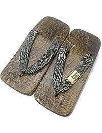 [Japón Hecho] Geta Paulownia madera Mens Sandalias tradicionales calzado, Asiatico, Sayagata Design 30 cm