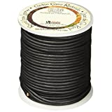 The Leather Factory Round Leather Lace, 2-Millimeter, 25 Yard Spool Black