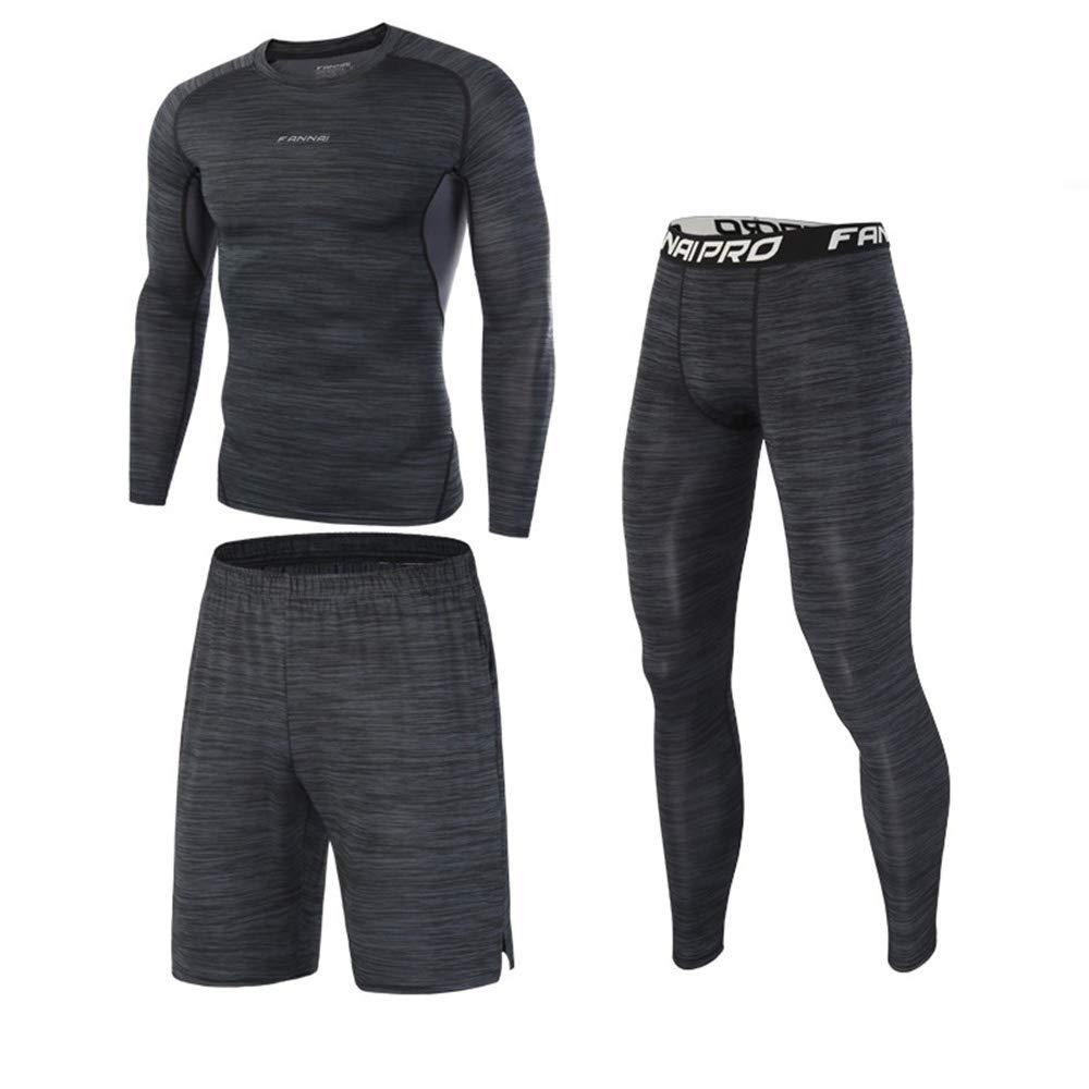 Chengzuoqing Herren Lauf Set Gym Kleidung Elastische Kompressionsstrumpfhosen Fitness Workout Sport Jogginganzüge (Größe   L)