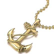 Unisex Gold Color Marine Anchor Pendant Necklace for Men Women Stainless Steel with 23.6 in Ball Chain