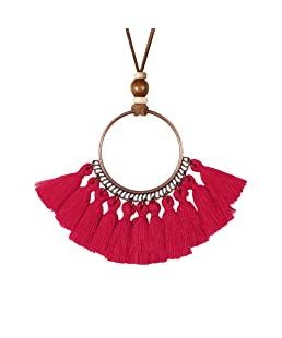 Gostear Ethnic Big Hoop Long Tassel Pendant Leather Chain Necklace Simple Fashion Jewelry for Women