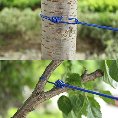 Portable Travel Clothesline, Adjustable Elastic Travel Camping Retractable Clothesline with 12pcs Clips for Outdoor and Indoor Use (Blue)