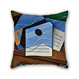 throw cushion covers of oil painting Juan Gris - Guitar on a table 16 x 16 inches / 40 by 40 cm,best fit for seat,christmas,chair,kids boys,car,teens girls twice sides
