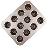 MyLifeUNIT Carbon Steel Cannele Pan, 12-Cavity Non Stick Cannele Mold, Golden