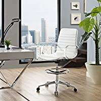 Modway EEI-2863-WHI Groove Ribbed Back, Drafting Chair, White