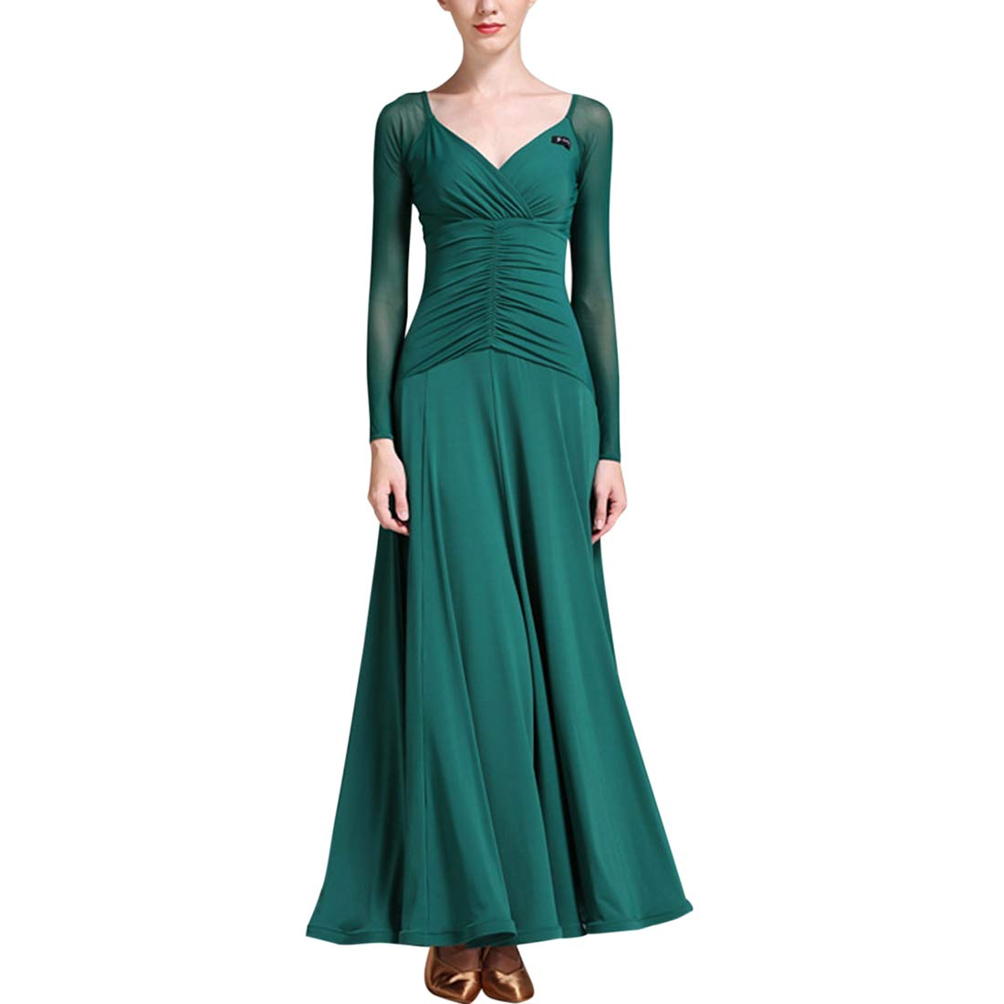Dark Green Zhhlinyuan Womens Waltz Modern Dance Dress  VNeck Latin Ballroom Dancing Dresses