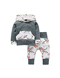 Baby Girls Floral Hoodie Pocket Top Cotton Pants Outfits Kids Playwear Set Grey