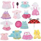 Huang Cheng Toys Set of 12 Handmade Lovely Baby Doll Clothes Dress Outfits Costumes for 14-15-16 Inch 18-inch American Girl Cloth Hat Cap Umbrella Mirror Comb Girl Christmas Birthday Gift