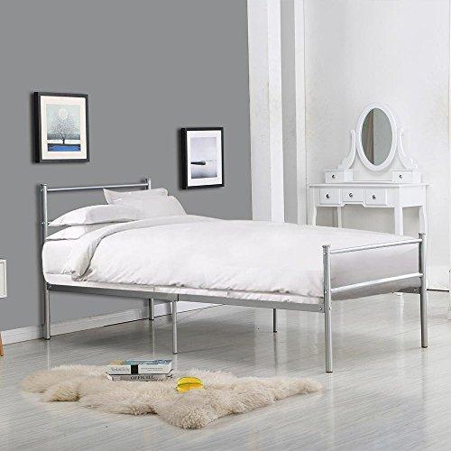 -[ 3FT6 Metal Bed Frame Single Bed Designer Kids Teens Adults' Bedroom(bed frame only)(Silver)  ]-