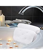 Bath Pillow, Bathtub Spa Pillow with 4D Air Mesh Technology and 7 Suction Cups, Helps Support Head, Back, Shoulder and Neck, Fits All Bathtub, Hot Tub and Home Spa - Extra Thick, Soft and Quick Dry