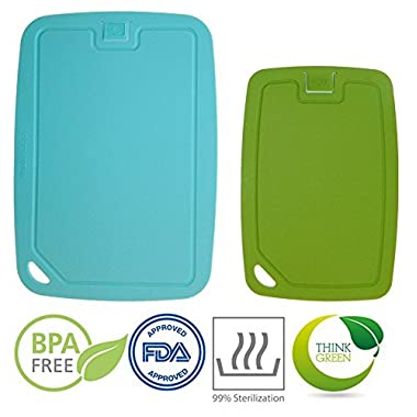 Cutting board set flexible antimicrobial and sturdy dishwasher safe: light and easy to store, handle and clean, germ clean in 60 seconds, microwave safe and antibacterial
