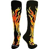 MadSportsStuff Flame Socks Athletic Over the Calf Socks (Black/Orange/Gold, Medium)