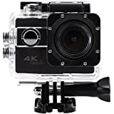 Acouto Action Camera 20M 4K 2 Inch Large Screen Wifi Waterproof Sports Cam Option Wide Angle with Waterproof Housing Case Accessories Kits