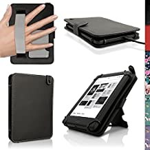 iGadgitz Black PU Leather Folio Case Cover for Kobo Touch 2, Kobo Glo HD 2015, Kobo Aura & Kobo Aura Edition 2 with Hand Strap & Viewing Stand