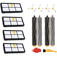Roomba 800 900 series Accessories kit 4 Filters 4 Side Brushes Replacement parts with 4 pcs extractors and 2 cleaning tools (iRobot Roomba 800 805 850 860 861 866 870 871 880 885 890 960 966 980)