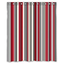 "Personalized Red Grey White Strips Polyester Fabric Waterproof Shower Curtain (rideau de douche) 66"" x 72"""