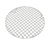 InBlossoms Cooling Barbecue Rack Carbon Baking Net Grill Pan Grate with Legs Round Stainless Steel Cross Wire Dia 9.5""
