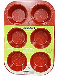 casaWare Toaster Oven 6 Cup Muffin Pan NonStick Ceramic Coated (Red Granite)