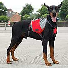 Dog Backpack Dog Saddlebags Medium And Large Dogs Harness Bag Ideal for Outdoor Hiking Camping Training (L, Red)