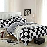 Ttmall Twin Full Queen Size Cotton 4-pieces Black White Plaid Prints Duvet Cover Set bed Linens  bed