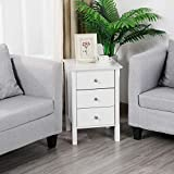 Yaheetech White Wood Nightstand 3 Drawers Bedside