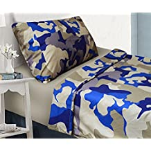 Fancy Collection 3 pc sheet set Kids/Teen Army Camouflage Beige Taupe Blue Twin Size New