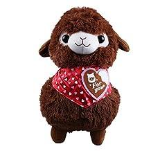 KSB 16'' Brown Heart-Shaped Scarf Plush Alpaca,Japanese Alpacasso Soft Plush,100% Plush Stuffed Animals Doll Toys,Best Birthday Gifts For The Children Kids ...