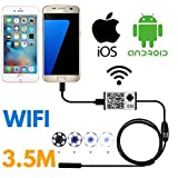 SanSiDo Endoscope Wifi Wireless iOS iPhone Android Borescope Endoscope Camera 2.0 Megapixels HD 6 Leds 9mm 720P IP66 Tube Waterproof Snake Inspection Camera for iPhone Samsung Smartphone - 3.5M