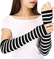 HDE Black & White Stripe Fingerless Long Glove Thumbhole Arm Warmer Elbow Le