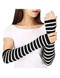 HDE Black & White Stripe Fingerless Long Glove Thumbhole Arm Warmer Elbow Length